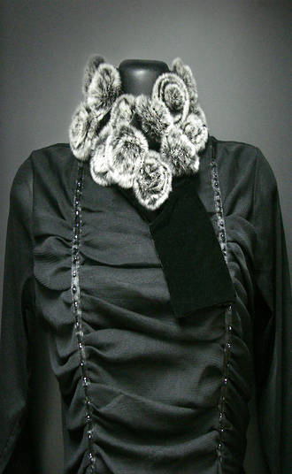 A1009 Rabbit Fur / Velvet Scarf