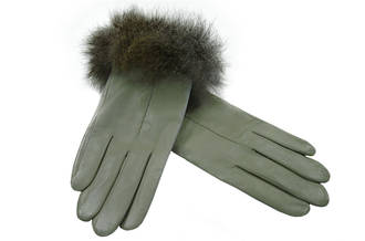 NZ Opossum Fur Trimmed - Natural Grey