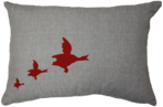 21086C Mississippi  Migrating Geese III - Linen/Red
